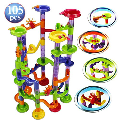 Marble Run Set, 105 Pieces Translucent Marble Track Game + 30 Marbles