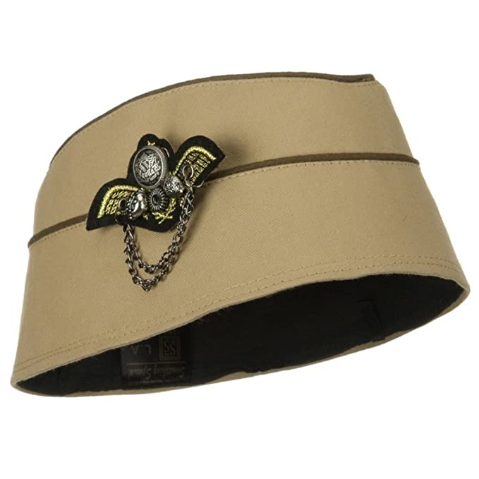1940s Hats History Ladies 1940s Era Stewardess Military Fashion Hat TAUPE $14.99 AT vintagedancer.com