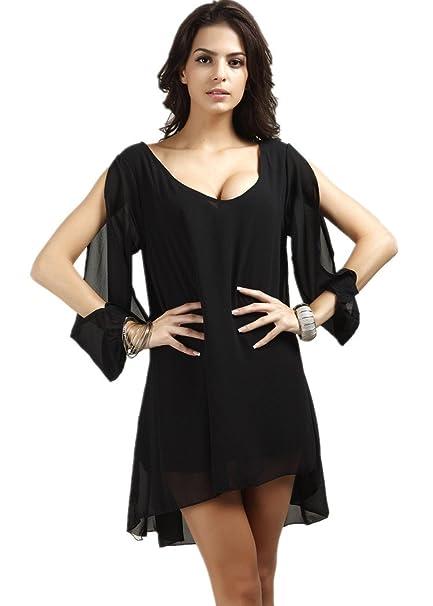f2c04be253c50 Kafeimali Women's Fashion Casual T-Shirts Tops Shirt Dolman Sleeve Loose  Chiffon Dress (S