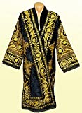 STUNNING UZBEK GOLD SILK EMBROIDERED ROBE CHAPAN FROM BUKHARA A7485