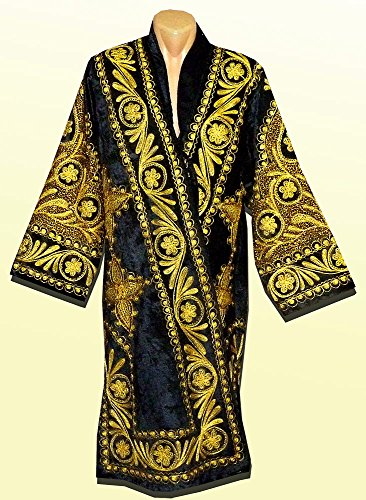 STUNNING UZBEK GOLD SILK EMBROIDERED ROBE CHAPAN FROM BUKHARA A7485 by East treasures