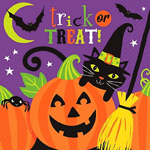 Witch's Halloween Trick Or Treat Crew Disposable Luncheon Paper Napkins, 6