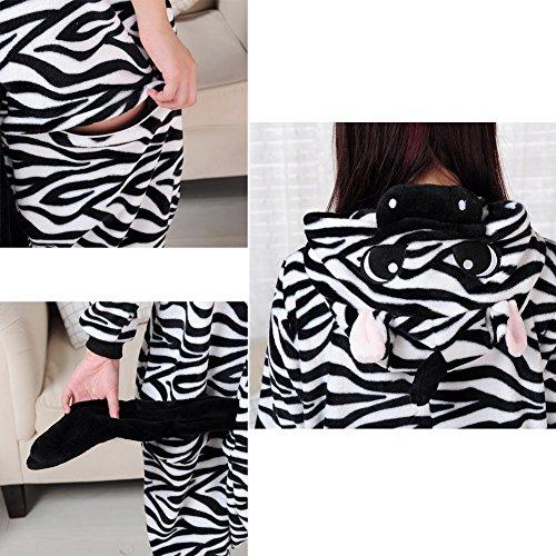 Hualing Zebra Coral terciopelo invierno dibujos animados pijama pieza