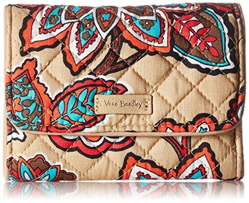 Vera Bradley Iconic RFID Riley Compact Wallet, Signature Cotton, Desert Floral