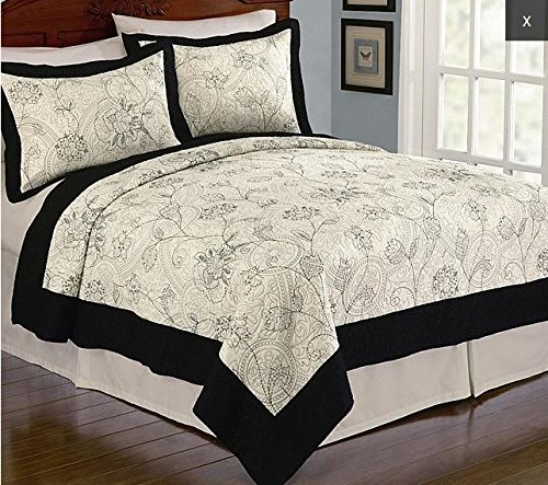 Kmart Cotton Comforter (Cannon Camila Embroidered Full/Queen Floral Pattern Quilt (Quilt & 2 Shams))