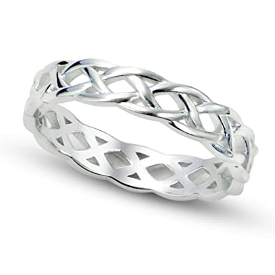 knot band mx ring rings celtic ladies split trinity silver with