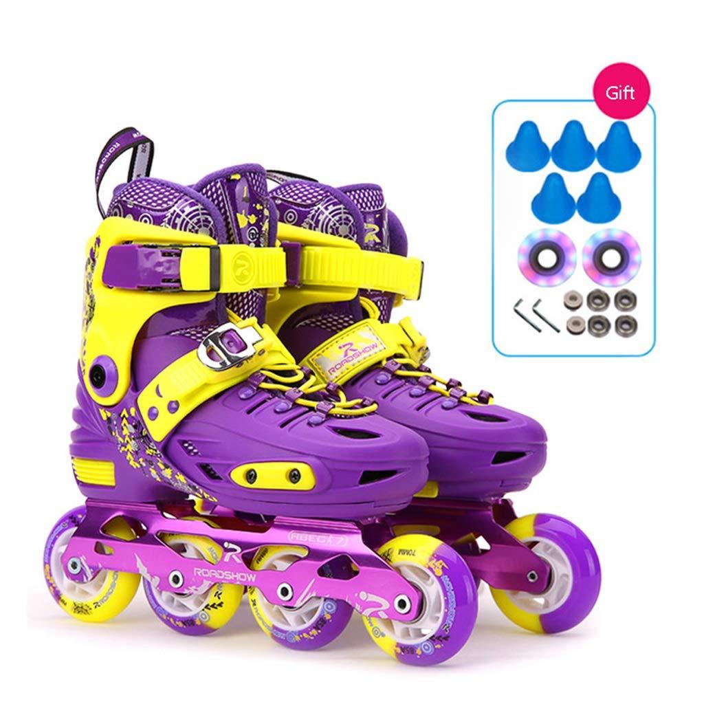 インラインスケート キッズインラインスケート、調節可能なブルーのプロフェッショナルローラースケート、男の子と女の子の耐久性のあるローラースケート(ピンクパープル) (Color : Purple, Size : S (EU 28-31)) S (EU 28-31) Purple B07SWYM7LC