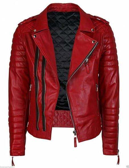 Men's Red Slim Fit Quilted Biker Leather Jacket at Amazon Men's ... : quilted biker leather jacket - Adamdwight.com