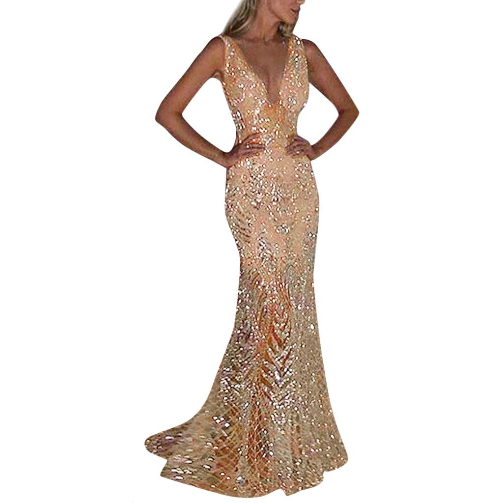 OWMEOT Women's Prom Dresses Long Sequins Formal Evening Dresses Ball Gowns (Khaki, M)