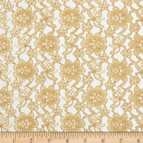 Ben Textiles Raschelle Lace Gold Fabric by The Yard,