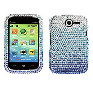 Nextkin Pantech Renue P6030 Bling Crystal Full Rhinestones Diamond Case Protector - Large Waterfall Blue
