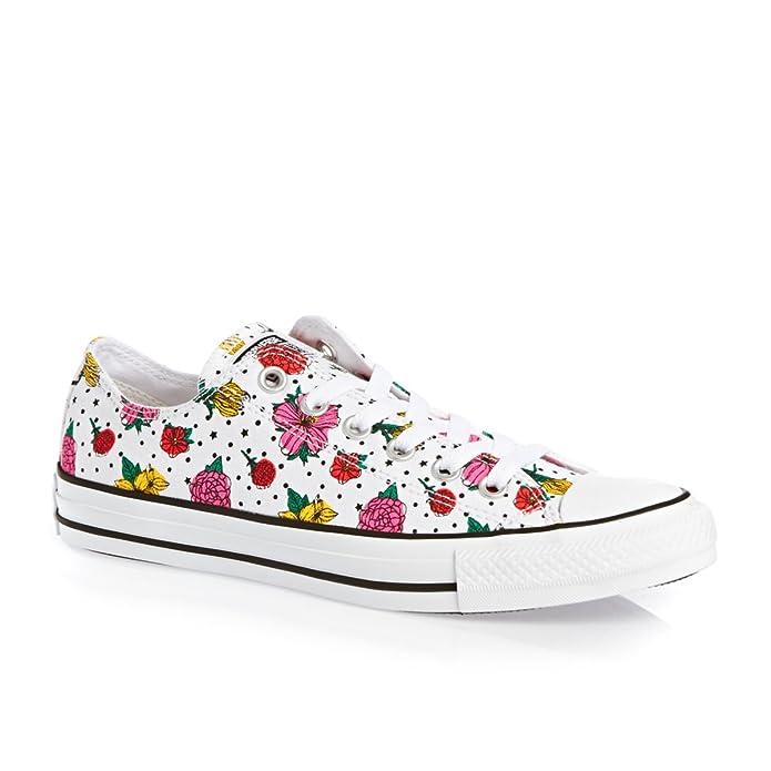 Converse Chuck Taylor (Chucks) All Star Ox Sneaker Unisex-Erwachsene Weiß mit Blumen
