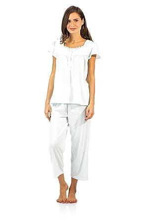 ddfc41f2f49 Casual Nights Women's Lace Cap Sleeve Capri Pyjama Set - Dot Green - Medium
