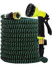 Flexibele tuinslang, 30 m, 100 ft knikbestendig, uitzettende waterslang, 10-patroon rotatiesproeier, 3/4 inch koperen stekker, slanghouder, opbergtas voor tuinen