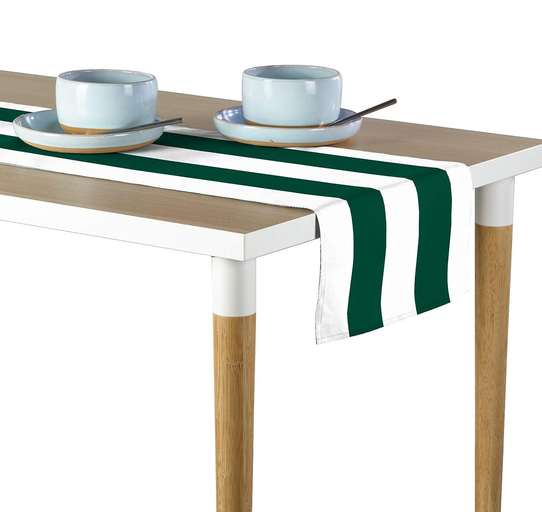 フォレスト&ホワイトCabana Stripe Milliken署名テーブルランナー – 各種サイズ 12