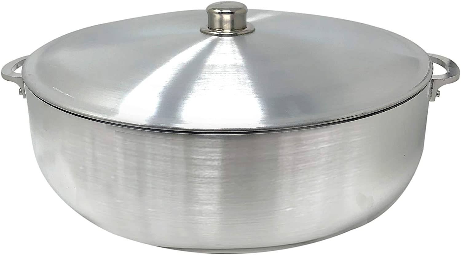KITCHEN SENSE TRADITIONAL COLUMBIAN CAST ALUMINUM RICE POT CALDERO BY AMERICAN DREAM SILVER STOCK POTS WITH ALUMINUM LID -HEAVY GAUGE CALDERO DE ARROZ DUTCH OVEN (13 Quarts)