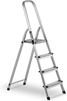 MSW Escalera De Mano De Aluminio MSW-AT4 (4 Peldaños, Capacidad ...