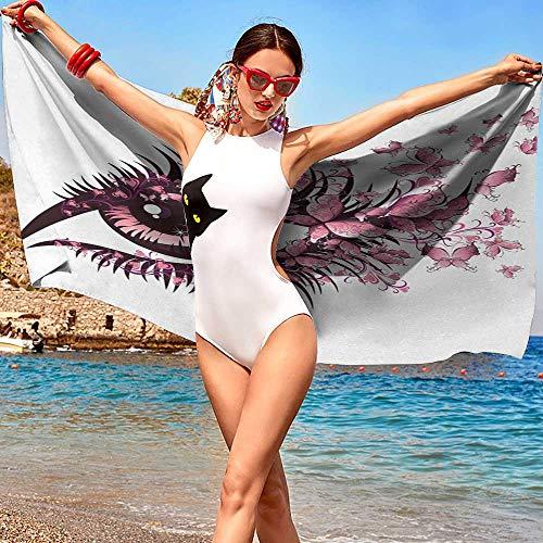 imming Pool Beach Towel W31 xL63 Butterflies,Fairy Female Eye with Butterflies Eyelashes Mascara Stare Party Makeup,Light Pink Purple Microfiber Bath Towel ()