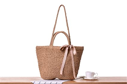 f760c9ce4b Image Unavailable. Image not available for. Color  Japanese Summer Ribbon  Bowknot Straw Bag Beach Handmade Woven Handbags Causal Shoulder Bags For  Women ...
