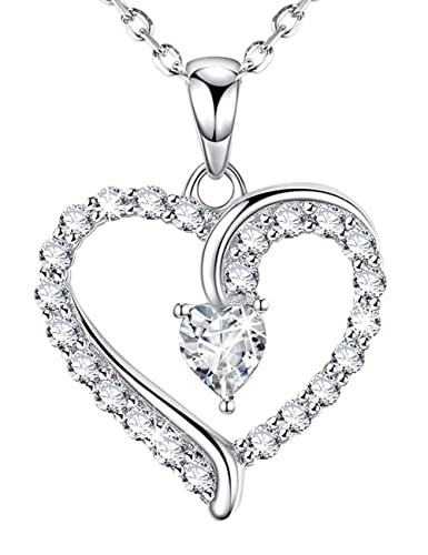 b53377ac9 Sterling Silver Necklace Jewelry Gifts for Women I Love You Love Heart  Pendant Simulated Diamond Necklace