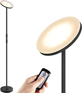 Floor Lamps, LED Torchiere Floor lamp 3 Color Temperatures, Super Bright Tall Uplight Standing Lights for Bedroom Remote Control & Touch, Albrillo Dimmable Modern Pole Light for Living Room, Bed Rooms