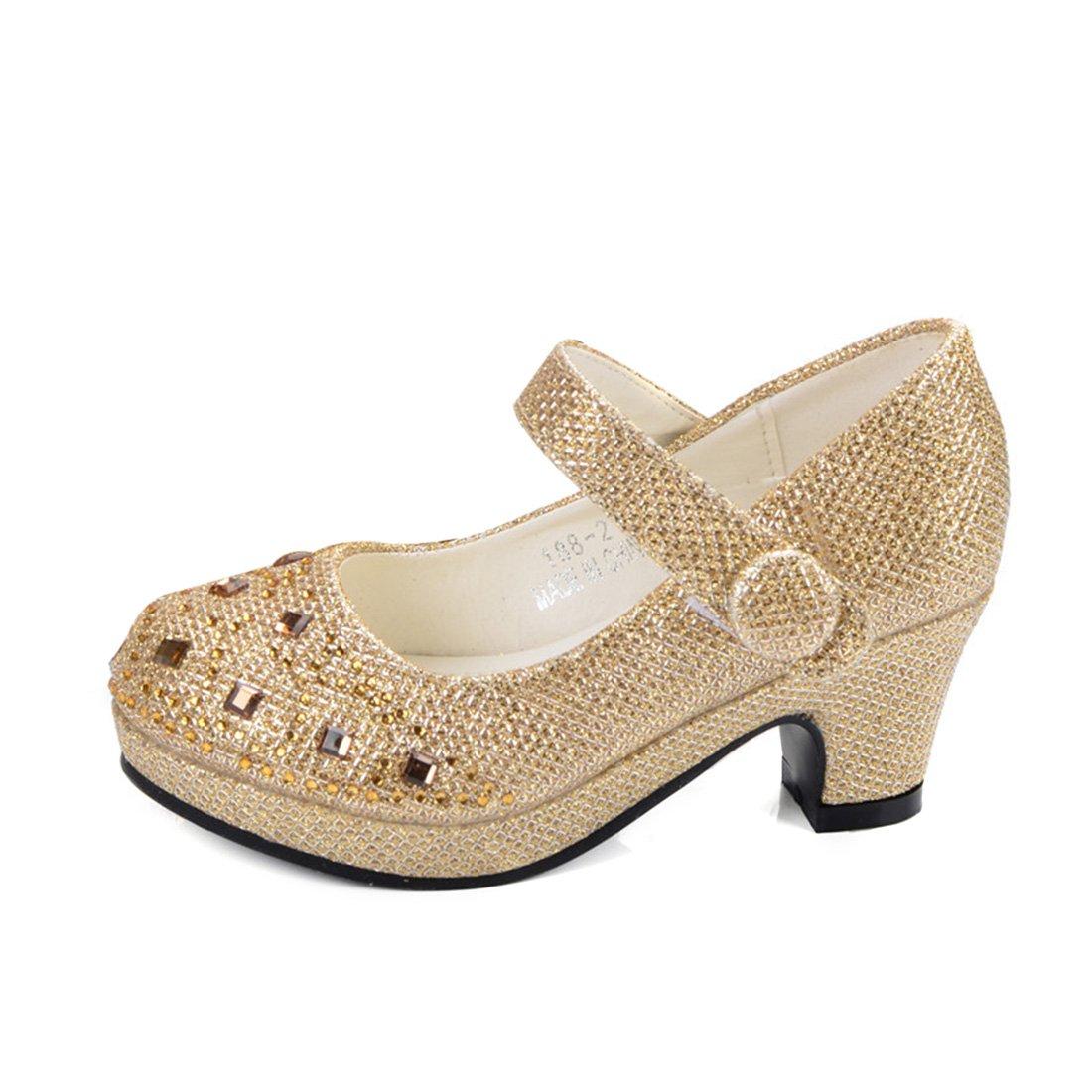 YIBLBOX Girls Kids Toddler Dress up Cosplay Princess Wedding Dance Shoes Crystal Mary Jane Low Heel Shoes by YIBLBOX