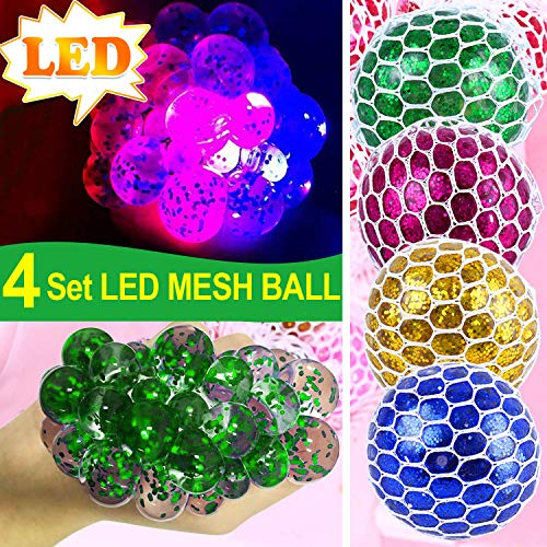 4 Pack LED Mesh Stress Ball -Squeeze Balls