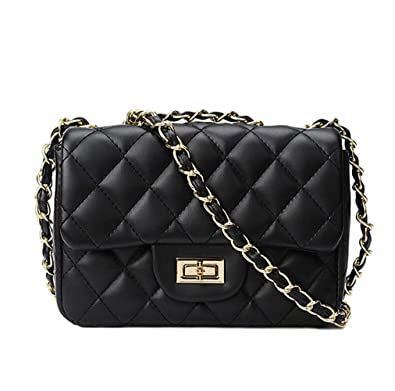 bab43066d9e5c8 TOYU S Lady Small Gold Chain Quilted Shoulder Bag Mini Cross Body Women  Handbag Clutch Classic