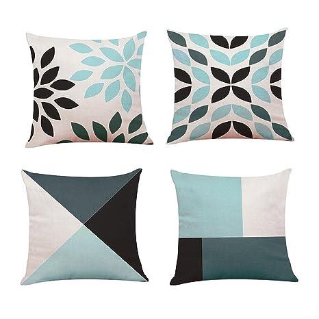 Lifemaison Fundas para Cojines con Impresión Diseño geométrico Cremallera Invisible 4 Pcs para sofá y Cama 45 x 45 cm