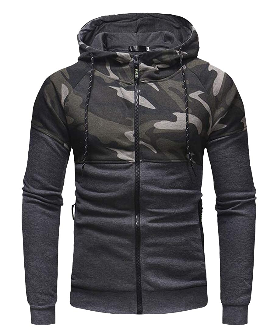 Fensajomon Mens Casual Stitching Camo Print Zipper Slim Fit Long Sleeve Hoodie Sweatshirt Jacket