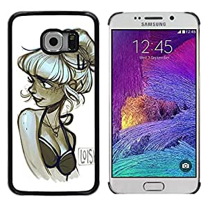 Chica modelo del dibujo del arte del artista Negro Blanco- Metal de aluminio y de plástico duro Caja del teléfono - Negro - Samsung Galaxy S6 EDGE (NOT S6)