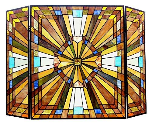 Manhattan Fireplace (Chloe Lighting Flare Tiffany-Glass Mission 3pcs Folding Fireplace Screen 38