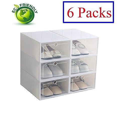 Hwalla Cajas de Zapatos de plástico Transparente Apilable, Tamaño de la Caja de Zapatos Contenedores