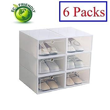 Hwalla Cajas de Zapatos de plástico Transparente Apilable, Tamaño de la Caja de Zapatos Contenedores de Almacenamiento con Tapas (Blanco, ...