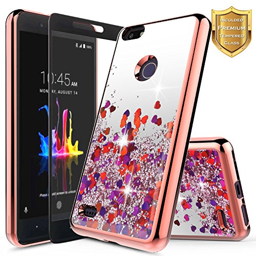 ZTE Blade X Case with [Full Coverage Tempered Glass Screen Protector], NageBee Quicksand Liquid Floating Glitter Flowing Sparkle Bling Clear Case for ZTE Blade X Z965 (Cricket) -Rose Gold