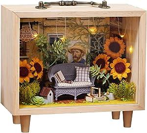 CUTEBEE Dollhouse Miniature with Furniture, DIY Wooden Dollhouse Kit Plus Dust Proof, Creative Room Idea K07