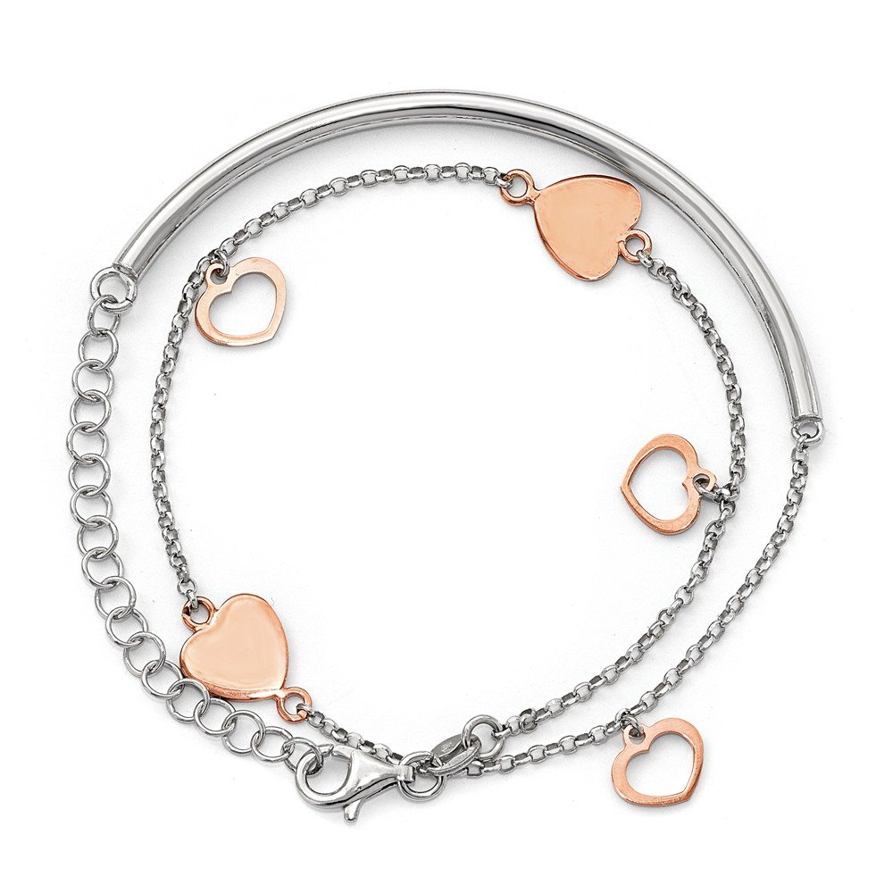 3mm Sterling Silver Rose Gold-plated Hearts With 2inch Ext. Wrap Bracelet