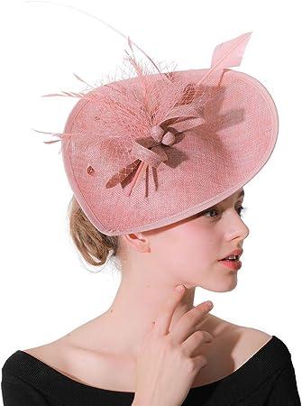Light Pink Silver Feather Pillbox Hat Fascinator Headpiece Hair Vtg Races 142