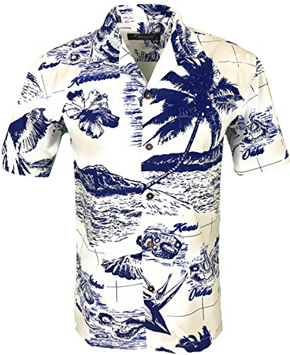 Favant Tropical Luau Beach Map Print Men's Hawaiian Aloha Shirt (X-Large, Map 3 White) (Shirt Tiki Aloha)
