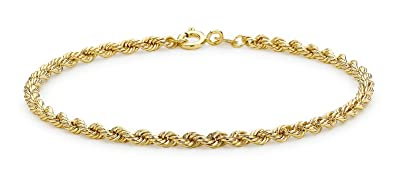 Carissima Gold 9ct Yellow Gold Semi Hollow Rope Bracelet of 18cm/7 XsvwaV1d6
