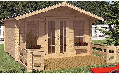 SKAN HOLZ Europe Gmbh Cabaña Madera Listones Casa Trondheim tamaño 2, 380 x 380 cm: Amazon.es: Jardín