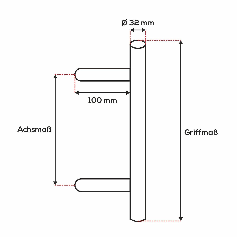 Poign/ée de porte ToniTec SYS2 en acier inoxydable Fixation incluse Poign/ée de pouss/ée Barre oblique 45 /°