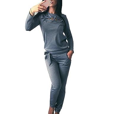 Mujer Chandal Conjunto, Moda Color Sólido Casual Conjuntos ...