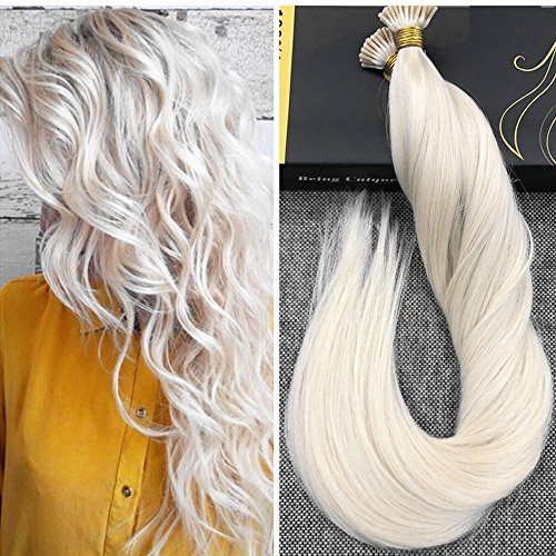Stick/i Tip (Ugeat 22inch I Tip Stick Fusion Hair Extensions #60 Light Blonde Remy Keratin Tipped Human Hair Extensions 50g 1g/s Straight Seamless Weft Stick I Tip Extensions)