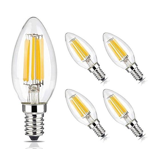 BRIMAX Bombillas LED 6W, luz blanca cálida suave 2700K, 580lm, E14 bombillas LED SES de candelabro, filamento vintage C35, ahorro de energía, 5 ...