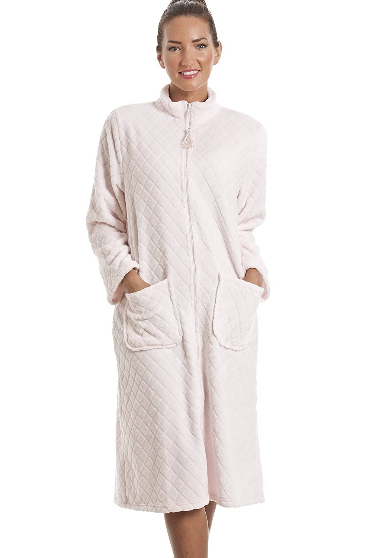 Camille Womens Ladies Soft Fleece Pink Zip Front House Coat