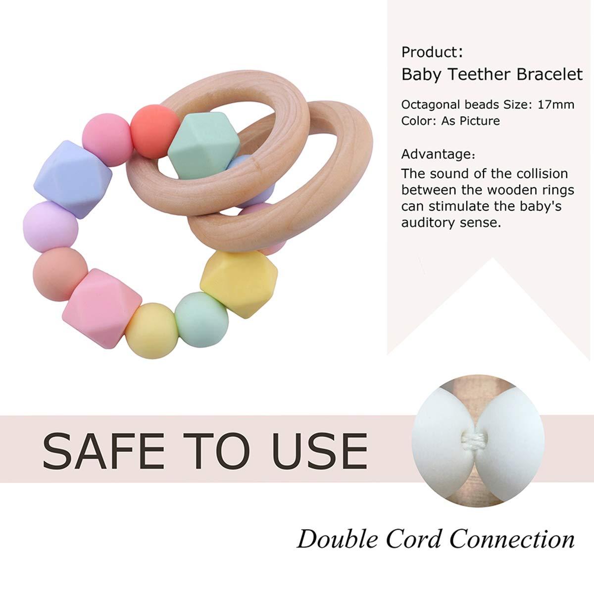 Promise Babe Silikon Perlen Baby Zahnen Nursing Zubeh/ör Armband H/ölzern Ring Montessori Spielzeug Baby Dusche Geschenk Zuhause Spielzeug