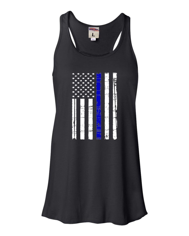 Thin Blue Line Distressed American Flag Flowy Racerback Tank Top T Shirt 1627