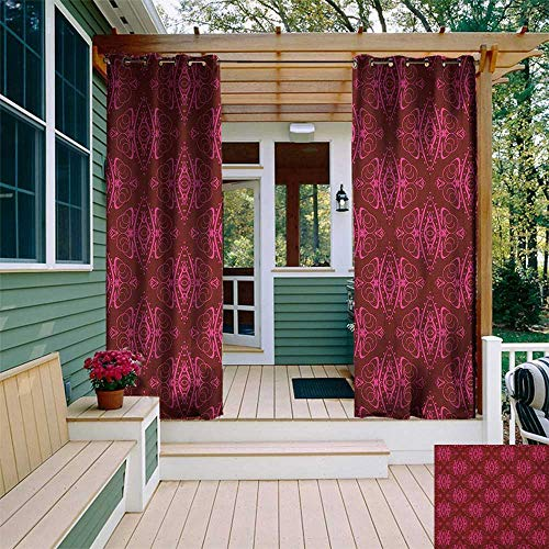 leinuoyi Hot Pink, Outdoor Curtain Set, Traditional Eastern Damask Pattern Over Burgundy Background Ethnic Design Print, for Gazebo W108 x L108 Inch Burgundy Pink