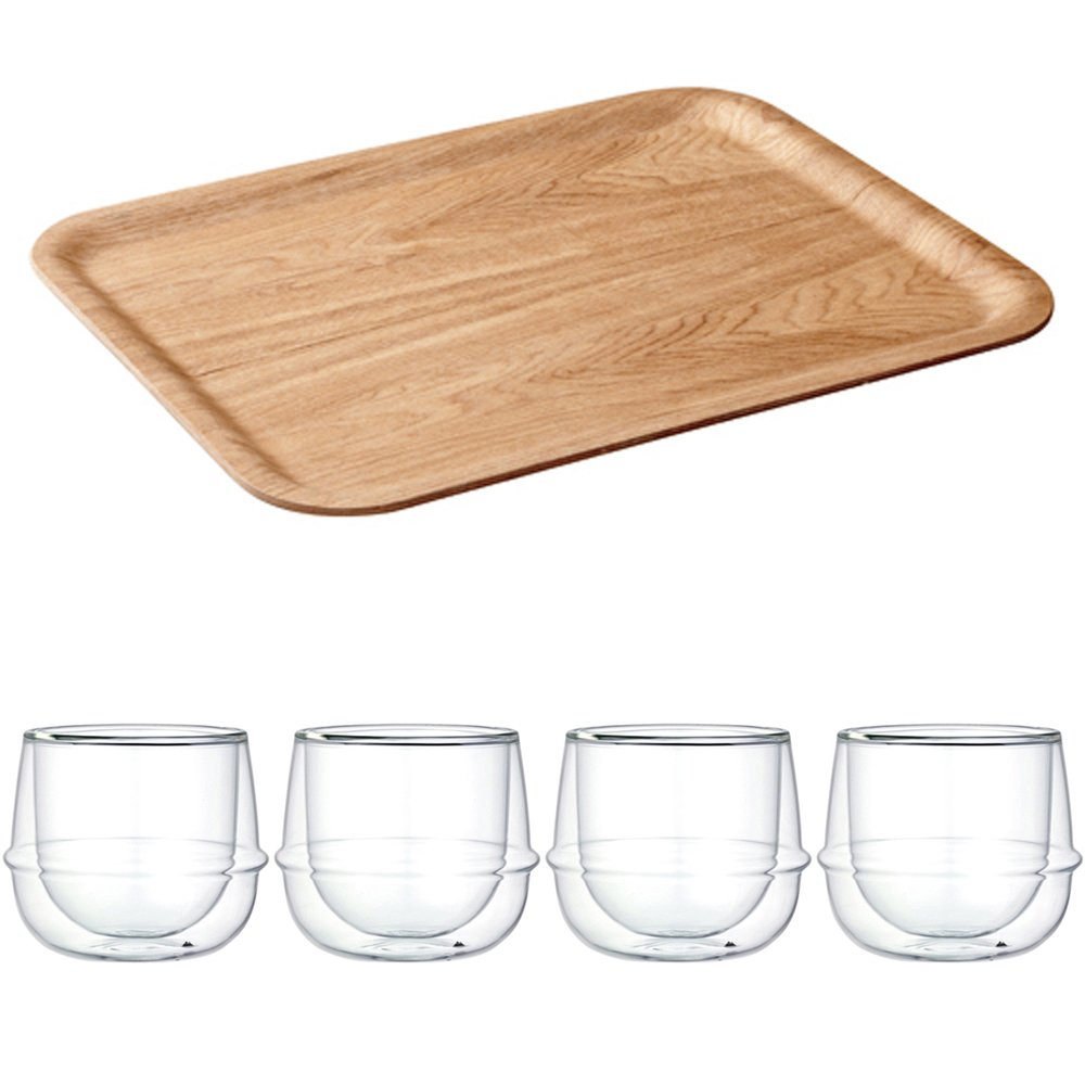 KINTO 17 inch Nonslip Rectangular Willow Tray and Four KRONOS Double Wall Glass Wine Glass, Set of 5